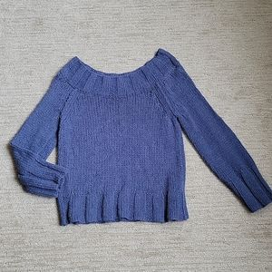 Free People Blue Knit Pullover Sweater Size M